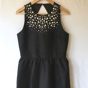 Kate Spade Pearl Embellished Mikado Dress Black 10
